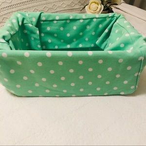 POTTERY BARN Mint Green White Dot Basket Liner